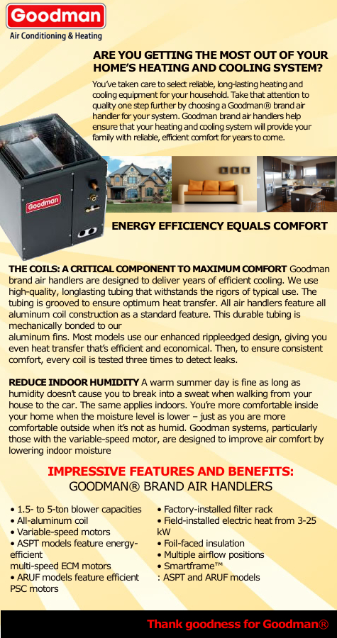 goodman 5 ton air handler. the aruf series does not feature factory installed thermal expansion valve (txv) goodman 5 ton air handler